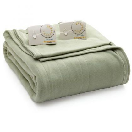 Electric Blanket Heated Plush In Sage Green In 2020 Biddeford Biddeford Blankets Electric Blankets