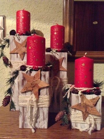 Advent Decoration Made Of Wooden Posts Advent Decoration Made Of Wooden Posts Advent Decorat In 2020 Advent Decorations Candles Crafts Christmas Tree Candle Holder