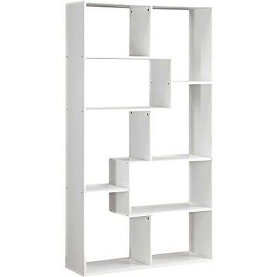 Tall Bookcase Cubby Large Open Bookshelf Modern Cube 8 Shelf Display White Book Shelves White Bookcase Shelving