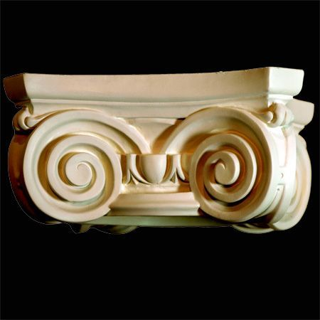 """Round, Greek Ionic Capital in Polyurethane, 16"""" X 16"""" across the top, 4 1/2"""" high can accommodate a column shaft 8"""" in diameter at the top and usually 10"""" diameter at the bottom. A perfect way to achieve a classic look in your home."""