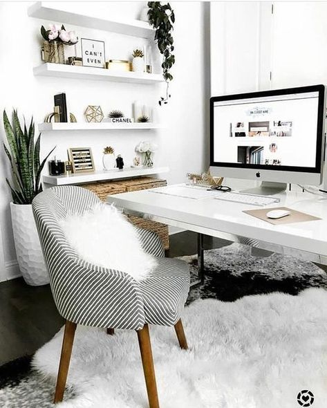Simple Home Office Design Ideas. Therefore, the demand for home offices.Whether you are intending on adding a home office or refurbishing an old area into one, here are some brilliant home office design ideas to assist you get started. Cozy Home Office, Home Office Space, Home Office Desks, Small Office, Office Workspace, Office Shelving, Home Office White Desk, Bright Office, White Desks