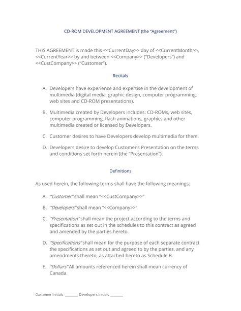 CD-ROM Development Contract (Quebec) - The original US CD-ROM - website development agreement