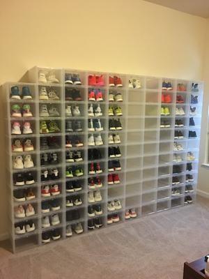 Large Drop Front Shoe Box Case Of 6 Drop Front Shoe Box Shoe Box Storage Shoe Organization Closet