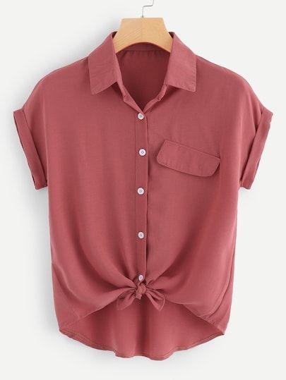 Usgen Y Z How To Roll Sleeves Hem Shirt Casual