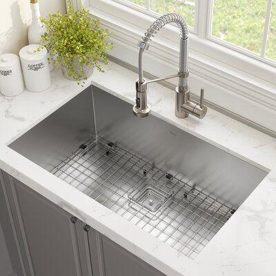 Kraus Pax 29 L X 19 W Undermount Kitchen Sink With Faucet Undermount Kitchen Sinks Modern Kitchen Sinks Farmhouse Sink Kitchen