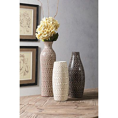 Neutral Patterned Vases Set Of 3 Floor Vase Decor Urban Home