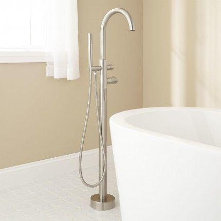 Algos Thermostatic Freestanding Tub Faucet Brushed Nickel Freestanding Tub Faucet Free Standing Tub Tub Faucet