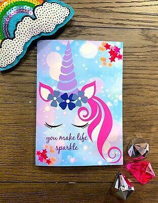 You Make Life Sparkle Happy Birthday Unicorn Themed Handmade Greeting Card Unicorn Birthday Cards Unicorn Card Happy Birthday Cards Handmade