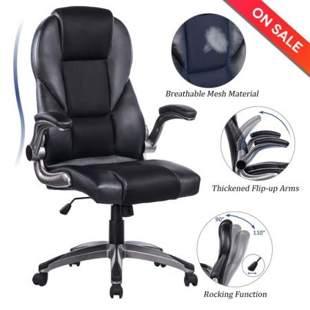 Breathable High Back Mesh Leather Office Chair Flip Up Arms Ergonomic Computer Desk Executive Chair Blac Comfy Office Chair Office Chair Comfy Leather Chair