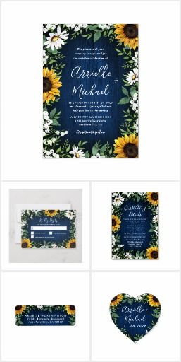 Navy Blue Sunflower Rustic Wedding Invitations Set Products feature a navy blue barn wood background decorated with watercolor daisies, sunflowers, greenery, baby's breath, and lily of the valley. Customize t Blue Sunflower Wedding, Sunflower Wedding Invitations, Daisy Wedding, Country Wedding Invitations, Rustic Invitations, Yellow Wedding, Wedding Invitation Sets, Wedding Colors, Fall Wedding