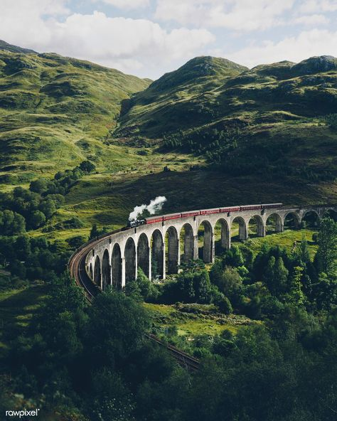Glenfinnan Viaduct railway in Inverness-shire, Scotland Inverness Scotland, Skye Scotland, Glasgow Scotland, Scotland Funny, Scotland Food, Glencoe Scotland, Pitlochry Scotland, Scotland Map, Scotland History
