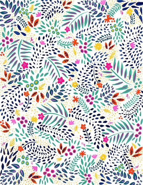Watercolor Painting Floral Pattern Colorful Gouache by MayAvenue.