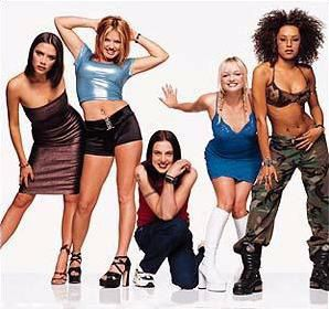 Spice Girls. I remember eanting the outfit Scary Spice is wearing in this photo. I wanted to be in skimpy combat gear.