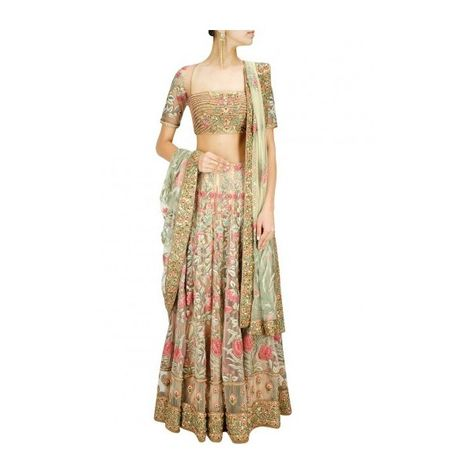 Ashima Leena presents Champagne floral threadwork lehenga set available only at Pernia's Pop-Up Shop.