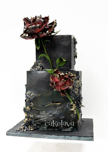 Modern Wedding Cakes ALLIE - BLACK - Black textured wedding cake with handcrafted flowers and decorations