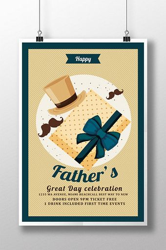 Retro Father S Day Flyer Templates With Hat And Gift Wrapping Psd Free Download Pikbest Flyer Template Invitation Card Design Free Invitations