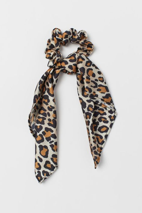 Scrunchie with Scarf Detail - Light beige/leopard print - Ladies | H&M US 1