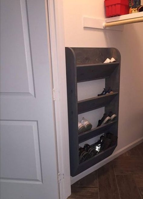 Small Closet Organization Diy Cheap Storage Ideas 33 Ideas For 2019 Diy Shoe Rack, Diy Storage, Diy Furniture, Home Diy, Storage Closet Organization, Closet Bedroom, Closet Storage, Wall Mounted Shoe Storage, Storage