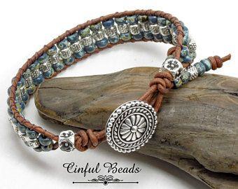 Flower button leather bracelet crochet jewelry Bohemian Aqua Blue Green Cuff Bracelet