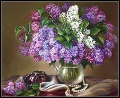 Chart Counted Cross Stitch Patterns Needlework DIY DMC Still Life with Lilacs