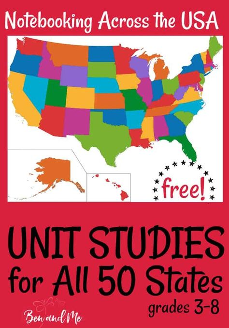 Unit Studies for all 50 States! Study U. Geography for an entire year with these FREE Unit Studies for all 50 States! Teaching Geography, World Geography, 5th Grade Geography, Geography Lesson Plans, Geography Worksheets, Math Worksheets, Teaching Kids, Gifted Education, History Education