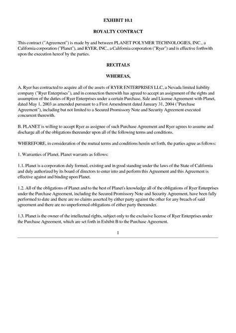 Planet Biopharmaceuticals Inc - 10qsb - 20040816 - Exhibit_10 - mutual understanding agreement format