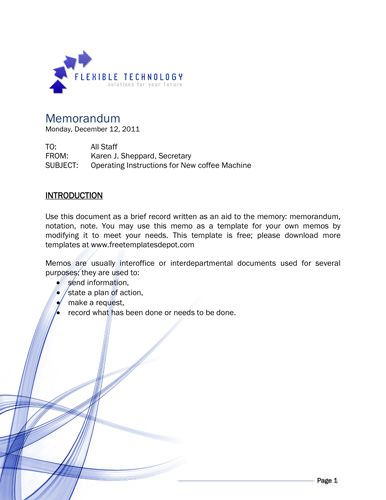 Flexible technology memo template Memo Template Free Pinterest - example of interoffice memo