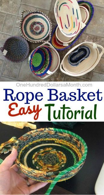 How to Make a Rope Basket - One Hundred Dollars a Month - Today my friend Zoe is popping over to do a super fun guest post. Thanks for sharing your skills wi - Fabric Basket Tutorial, Purse Tutorial, Fabric Bowls, Rope Crafts, Diy Crafts, Fabric Scraps, Basket Weaving, Creations, Mavis