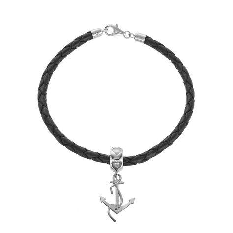 LogoArt Sterling Silver   Leather Delta Gamma Sorority Anchor Bracelet cdb91b16db7
