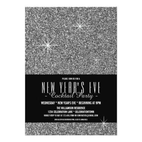 New Year S Eve Glitzy Silver Party Invitation Newyears Party Invites Invitations Party Invitations New Years Party Silver Party