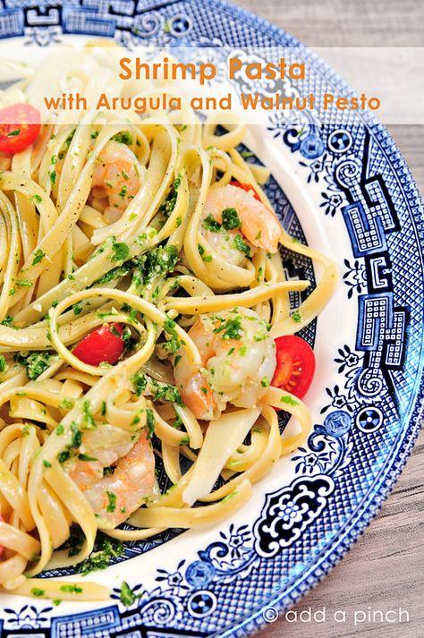 Shrimp Pasta with Arugula and Walnut Pesto Recipe - addapinch.com