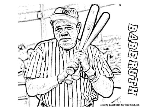 Babe Ruth Coloring Page Yahoo Search Results Image Search