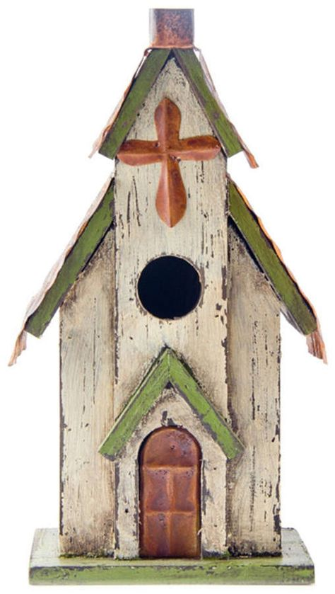 Give your feathered friends a new home with this lovely church bird house. Wood bird house has a decorative metal roof with metal door and cross. Wooden Bird Houses, Decorative Bird Houses, Bird Houses Painted, Bird Houses Diy, Wood Houses, Bird House Plans, Bird House Kits, Homemade Bird Houses, Birdhouse Designs