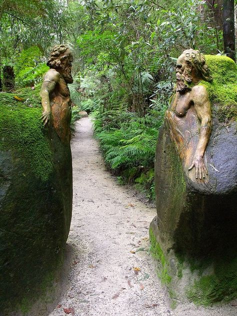 Incredible statues apparently carved from the stone of which they are a part. Guardians at the gateway ~ William Ricketts Sanctuary in the Dandenong National Park near Melbourne, Australia Dream Garden, Garden Art, Garden Paths, Garden Landscaping, Garden Structures, Garden Pond, Garden Ideas, Moss Garden, Forest Garden