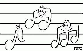 Desenho De Notas Musicais Com Os Rostos Em Uma Pauta Ou Pentagrama