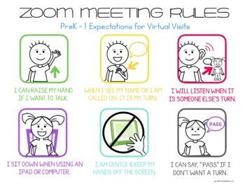 Zoom Meeting Rules Prek 5 Expectations For Virtual Visits Distance Learning In 2020 Digital Learning Classroom Distance Learning Preschool Technology