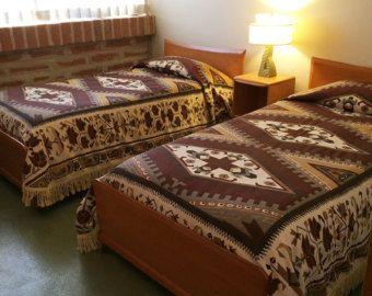 Southwest Navajo Bedspread 2 Available Vintage 1970 70 Cowboy Native American Indian Home Decor Or Make Curt Indian Home Decor American Indian Decor Home Decor