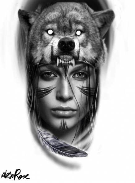 Native Indian Wolf Tattoo Designs