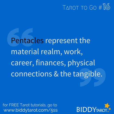 Pentacles represent the material realm, work, career, finances, physical connections and the tangible. #TarotTips #TarotToGo