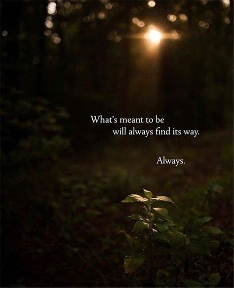 What's meant to be will always find its way. Always.