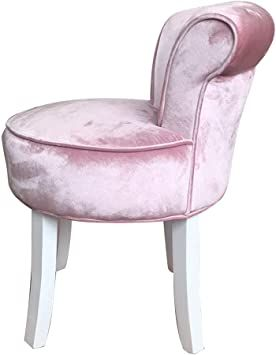 Shabby Chic Padded Vanity Stool Fan Back Dressing Chair With Wood Legs Comfortable Makeup Seat Sitting 44cm 17 32 Inc In 2020 Dressing Chair Vanity Stool Wood Legs