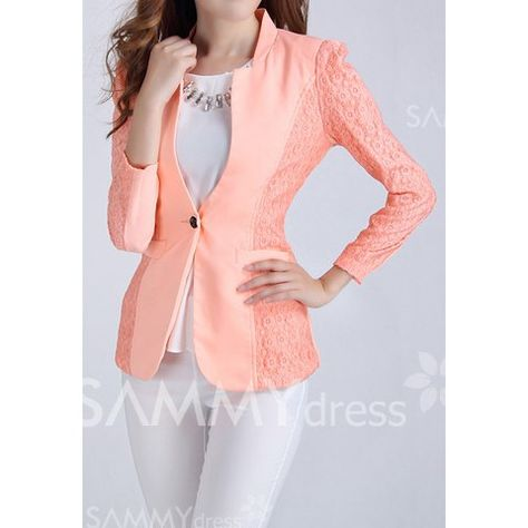 Solid Color Sleeves Skinny Ladylike Style Polyester Blazer For Women