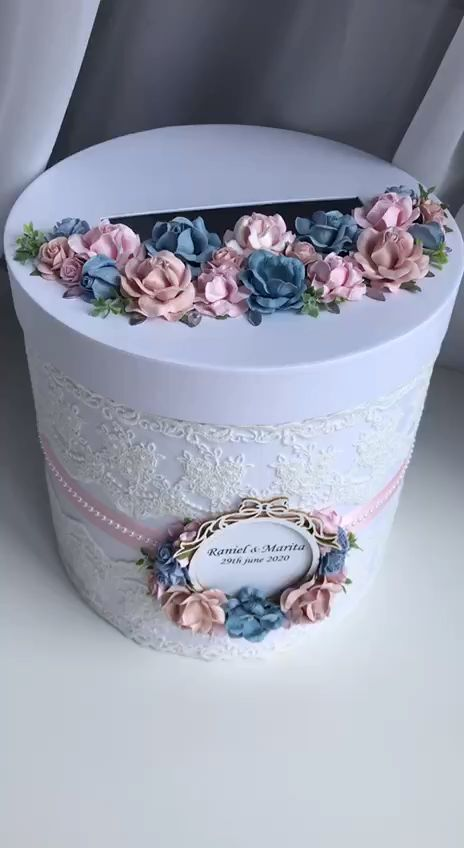 Card Box For Wedding Dusty Blue and Blush Pink Reception Card Holder Wedding Box