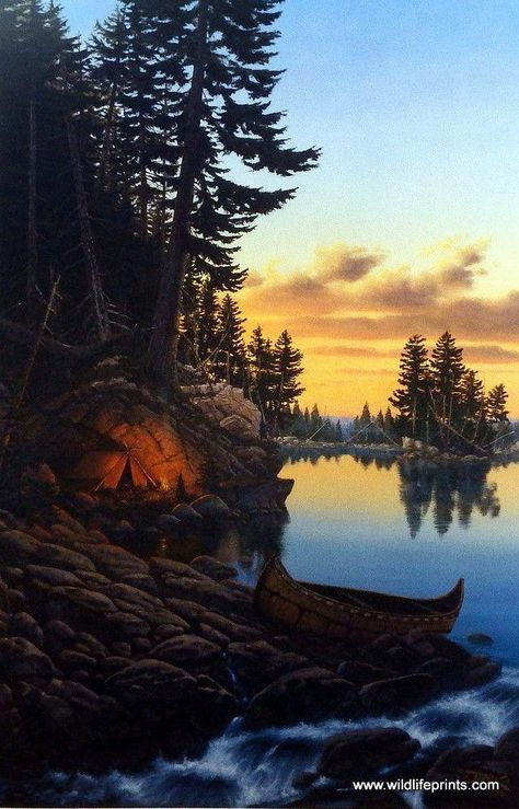 Derk Hansen's print EVENING GLOW is a serene image of a tent camp site with a birch bark canoe close by and the glow of a big campfire casting shadows. Available in three different open edition sizes.