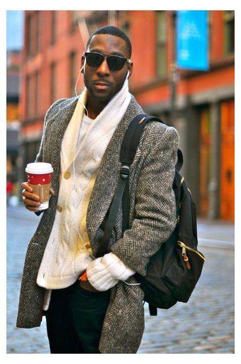 #men #fashion #glasses #black #menfashionglassesblack Men's Grey Herringbone Overcoat, White Shawl Cardigan, White Crew-neck T-shirt…