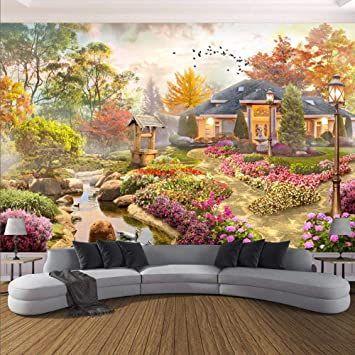Mazf 3d Wallpaper Pastoral Style Garden Villa Landscape Photo Wall Murals Living Room Dining Room Water In 2021 Beautiful House With Garden Wall Murals Mural Wallpaper