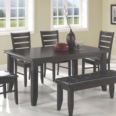 Modern Family Dining Table Sturdy Wood Construction Cappuccino