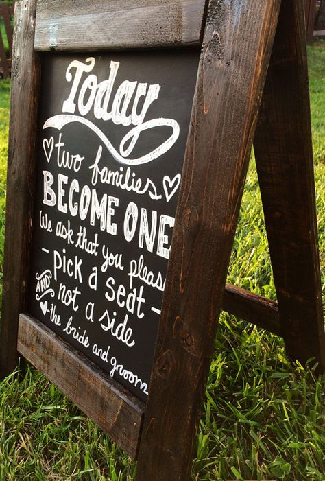 Wedding chalkboard sign - could make with hinges on top