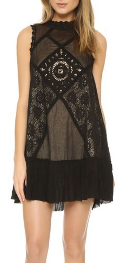 Black Lace High-Neck Shift Dress