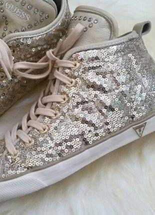 Guess Sneaker gold beige mit Pailletten und Glitzersteinen